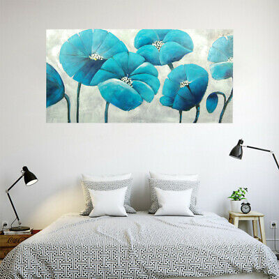 Abstract Hand-painted Art Oil Painting Wall Decor Canvas - Framed Blue Flowers