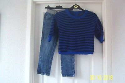 Boys Blue Distressed Denim Jeans 3 - 4 Years Tu & Black & Blue Striped Jumper