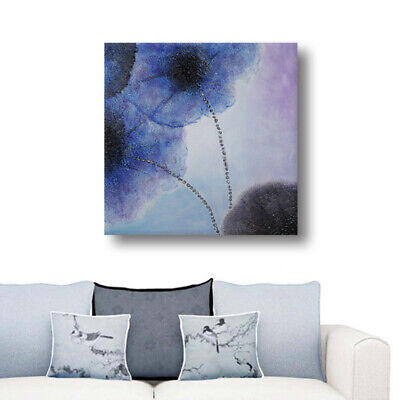 Handmade Modern Abstract Lotus Flower Oil Painting On Canvas Wall Art Framed