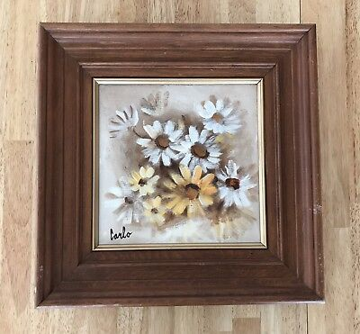 Vintage Painting White Yellow Daisies Wooden Frame Artist Carlo Name Signed