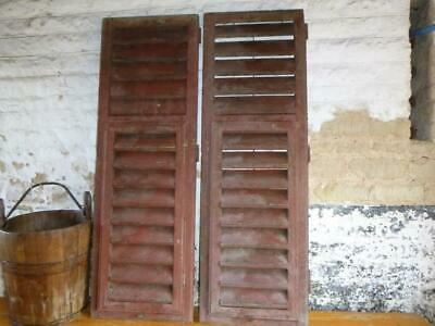 VINTAGE WOODEN SHUTTERS WINDOW 129 Cm tall FRENCH  RECLAIMED FREE post