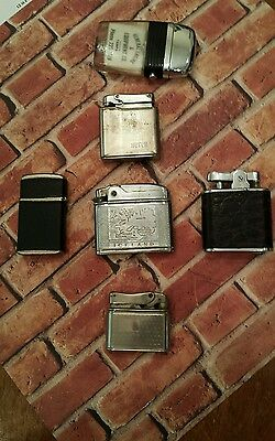 Lot of 5 Vintage Lighters and One Plastic Base Scripto Lighter