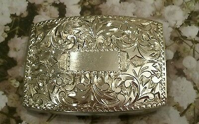 Vintage Floral Design 950 Silver Belt Buckle