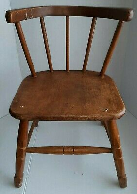 Vintage Childs Wooden Armchair Spindle Back Bedroom Retro