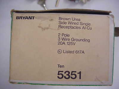 Qty 9 Bryant 20A 125V Brown 2 Pole 3 Wire Grounding Receptacles New Old Stock