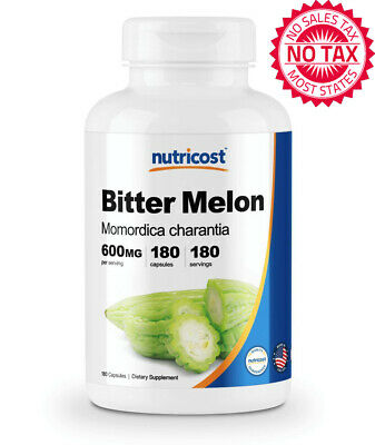 Bitter Melon 600mg, Non-GMO And Gluten Free, Made In The USA, 180 Capsules