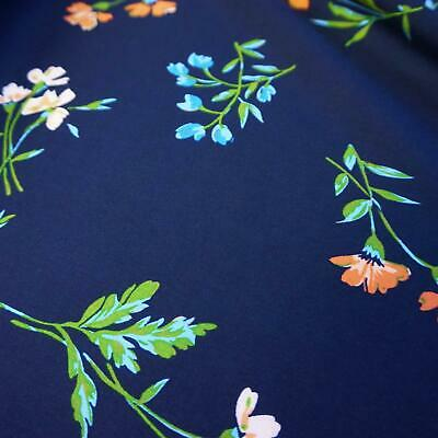 100% Viscose Fabric with Flowers - Two Colourways (Per Metre)