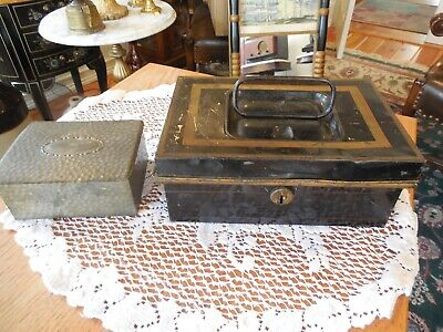 Antique Toleware Document Box + German Tin Match Box
