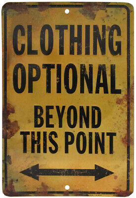 """Clothing Optional Beyond This Point 8""""x12"""" Metal Plate Parking Sign Made in USA"""