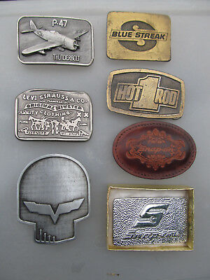 Belt Buckles Lot of 7 Assorted Vintage Snap-on, Hot Rod, Levis, P-47 and more