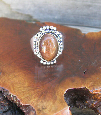Brown Tigers Eye W/Rope Edging Design Sterling Silver 8 GM Ring (Size 7.75)NEW!
