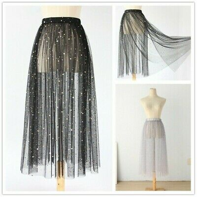 bf9adab131 Lady Lace Tulle Mesh Skirt Sparkle Glitter Petticoat Underskirt Sheer Shiny  Chic