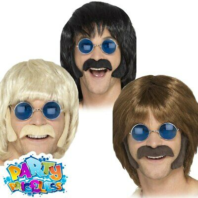 60s Hippie Disguise Kit Moustache + Sideburns Adult Mens Fancy Dress Accessory