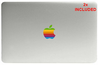 2X Retro Apple Logo Clear Printed Stickers Decals Graphics Macbook Pro Air 13 15