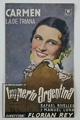 1938 Carmen la de Triana Movie Advertising Leaflet - Imperio Argentina