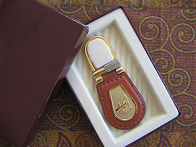 Silver Gold Plated Tan Leather Key Ring Purse Charm Macau Cultural Center