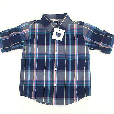 NWT Baby Boys Easter JANIE AND JACK Plaid Button Down Long Sleeve 18-24 MSRP $36