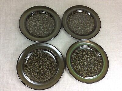 """Franciscan 10"""" Dinner Plate set of 4 dishes Madeira Brown green vtg plates dish"""
