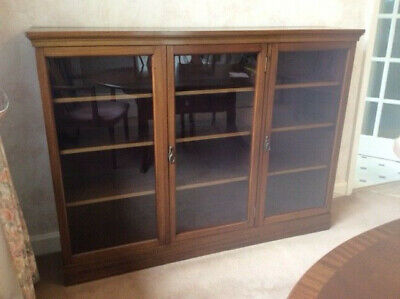 """Antique  Edwardian large rosewood glass fronted bookcase 45"""" h x 60w x 13 deep"""