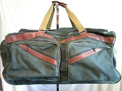 "ORVIS Battenkill 32"" Rolling Duffle Wheels Luggage Green Canvas Leather"