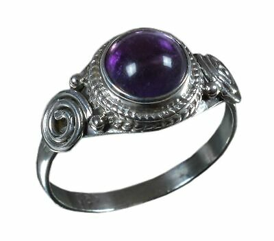 925 Solid Sterling Silver Amethyst Gemstone Handmade Ring Size 8.25 Us R1311 Jewelry & Watches Anklets