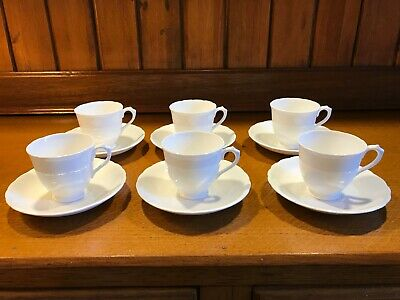 6 VINTAGE 1940s TUSCAN FINE BONE CHINA COFFEE DUOS (CUP & SAUCER) - SNOW WHITE