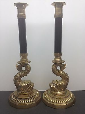 Vintage Pair of Brass Koi Fish Candlesticks Holders Asian Decor