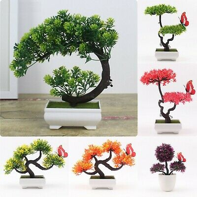 Artificial Home Decor Plant Bonsai Tree Office Desk Green Small Potted Flower
