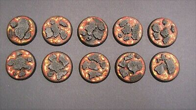 10 X Painted 25mm Resin Bases Lava Scenery Sigma 40k