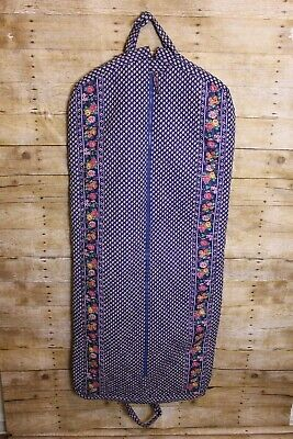 Vera Bradley Floral Blue 100% Cotton Garment Travel Bag