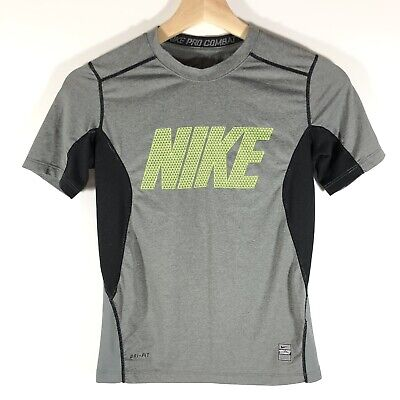 db749389d8b5 Nike Pro Combat Dri Fit Short Sleeve Fitted T-Shirt Gray Youth Boy s Small S