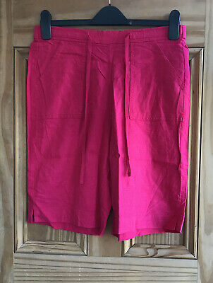Ladies Linen Blend lightweight Elasticated Waist Summer Shorts Size 10 to 22
