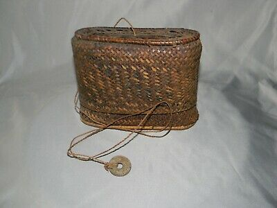 Antique French Indochina Indochine Woven Handbag Case + 1938 Coin 5 Cents