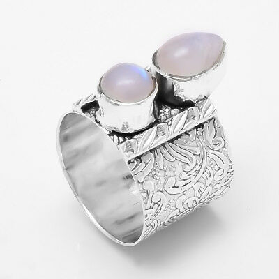 Rainbow Moonstone 925 Sterling Silver Wide Band Spinner Ring Jewelry All Size 01