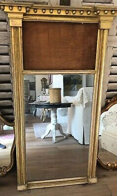 Antique FRENCH TRUMEAU CARVED Wood MIRROR,Late 1800s