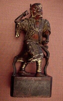 Antique Oriental Polychrome Wood Carved Warrior
