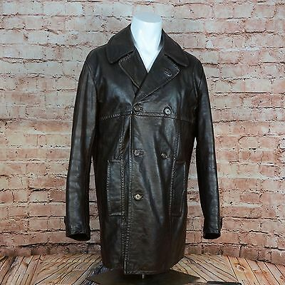 FRENCH CONNECTION Brown Double Breasted Vintage THICK LEATHER Jacket Coat M