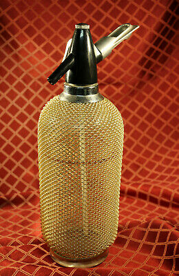 Vintage Siphon Soda Bottle Czechoslovakia Syphon Seltzer Glass With Mesh