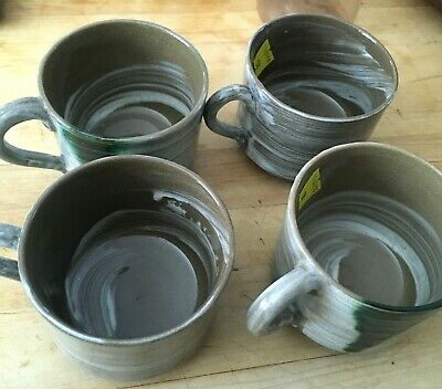"""Hand made/painted Asian Pottery Set of 4 Large 3x4.5"""" Coffee Tea Cups Mugs NICE!"""