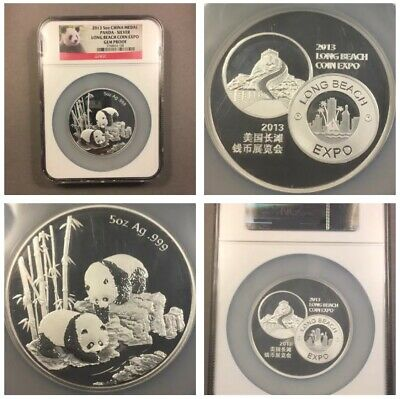 2013 - 5oz Silver China Medal - Panda Long Beach Coin Expo - NGC Gem Proof