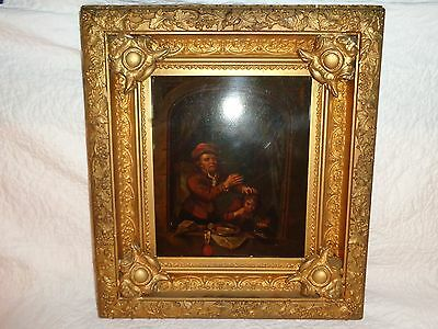 Early 19th.c European Oil/Tin Painting of a Man Pulling a Child's Tooth, Antique