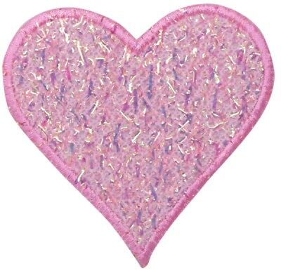Pink Confetti Heart Applique Patch - Sparkly and Shiny (Iron on)