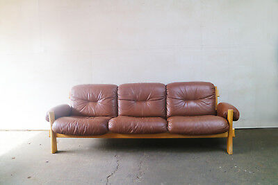 Danish mid century modern 1970's leather and pine sofa