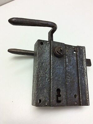 ANTIQUE 17th century Large Primitive Hand Made Iron Church Door Lock