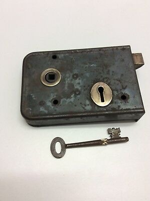 Antique Victorian working rim lock working order With Key