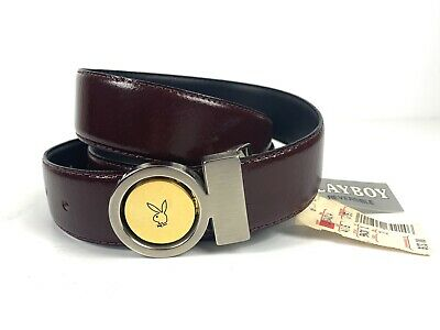 Playboy Bunny Circle Gold Brown Buckle Leather Belt Vintage NWT