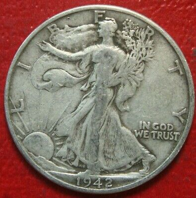 1942-D Walking Liberty Half Dollar , Fine or Better , 90% Silver US Coin