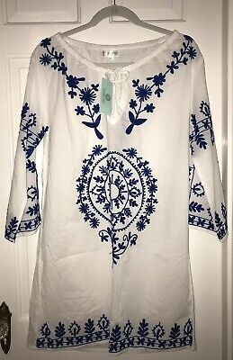 acff375b36763 Debbie Katz South Beach White & Blue Floral Embroidered Cover Up Dress NWT