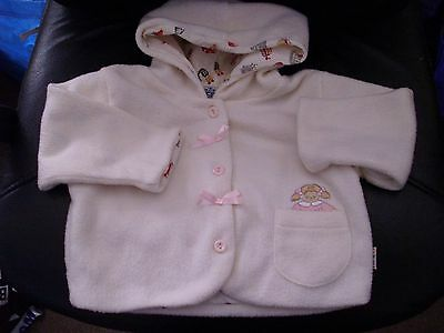 Girls Cream Hooded Lined Wooly Coat age 3-6 Months