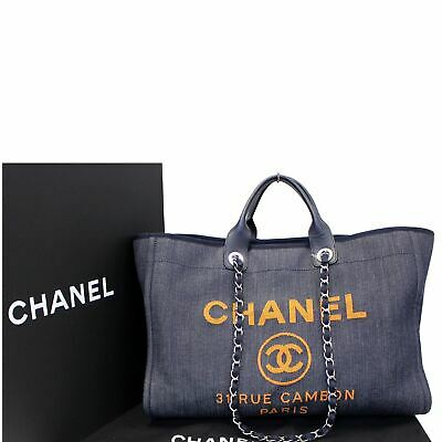34359bf5796f CHANEL DEAUVILLE LARGE Tote Shopping Bag 30 m BNWT GORGEOUS ...